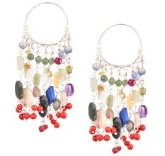 Sterling Silver Bali Hoop Earrings With Multi colored Stone Tassel