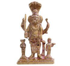 Brass Statue Of Lord Vishnu Avatar With Sheshnag