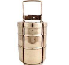 Brass Three Tier Indian Lunch Box