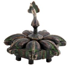 Brass Peacock Top Seven Compartment Bindi Box
