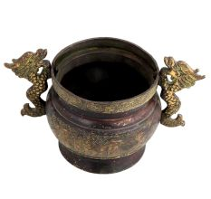 Brass Chinese Flower Pot Planter With Dragon Handles