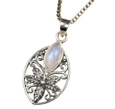Starry Flower 92.5 Sterling Silver Pendant Jewelry With White Stone