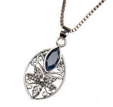 Starry Flower Blue Stone 92.5 Sterling Silver Pendant Jewelry