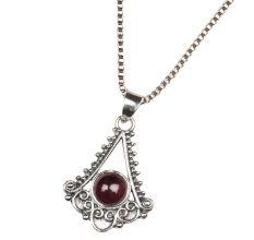 Triangular Spiral Design 92.5 Sterling Silver Pendant Necklace