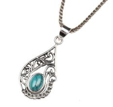 Turquoise Stone Teardrop Spiral Design 92.5 Sterling Silver Pendant