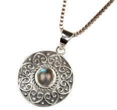 Round Engraved 92.5 Sterling Silver Pendant with Semi precious Stone