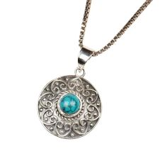 Turquoise Stone Embedded 92.5 Sterling Silver Round Pendant