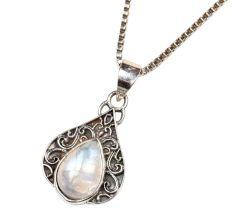 Teardrop Moonstone Embedded 92.5 Sterling Silver Pendant Jewelry