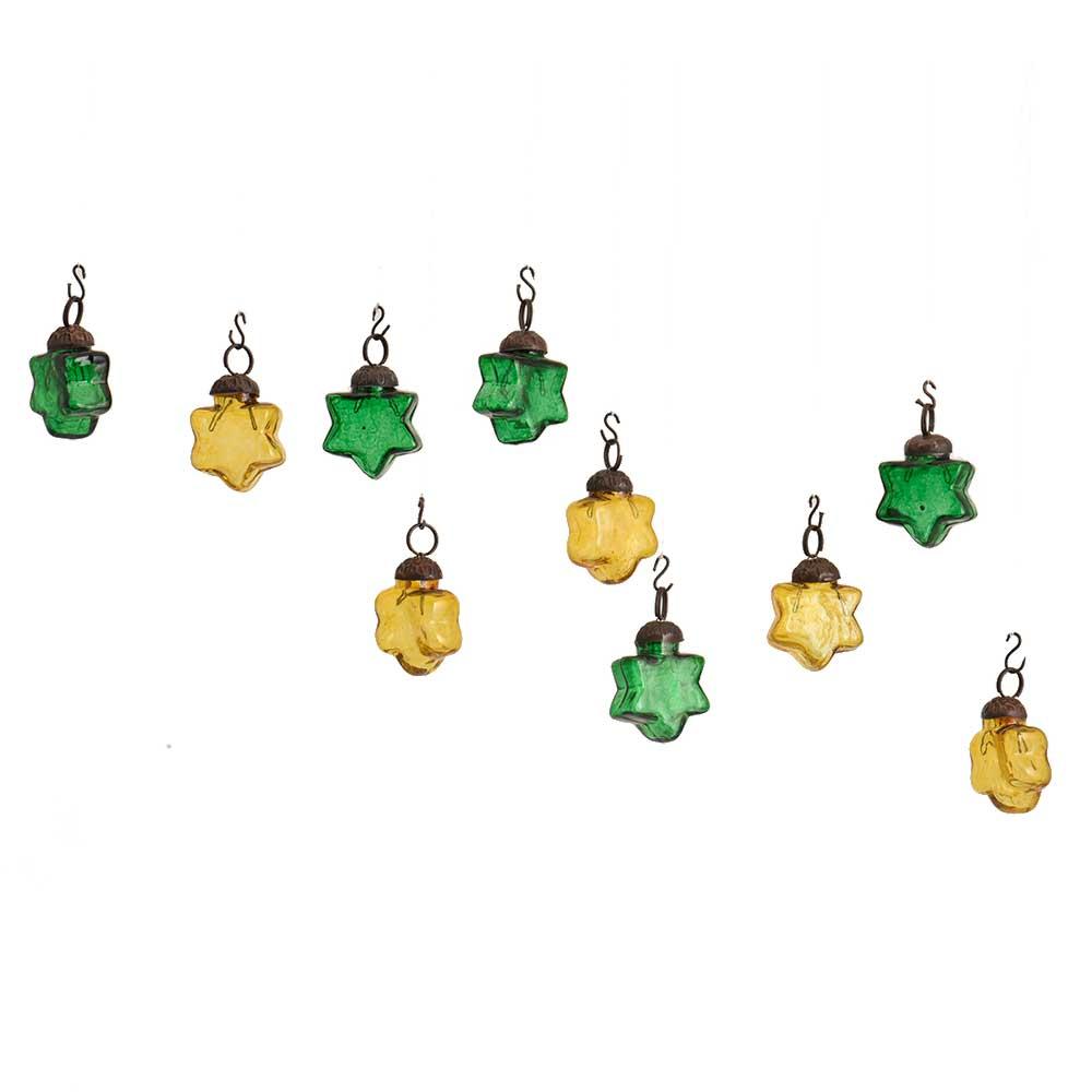 Green Yellow Star Combo Glass Tiny Christmas Hanging Set of 25