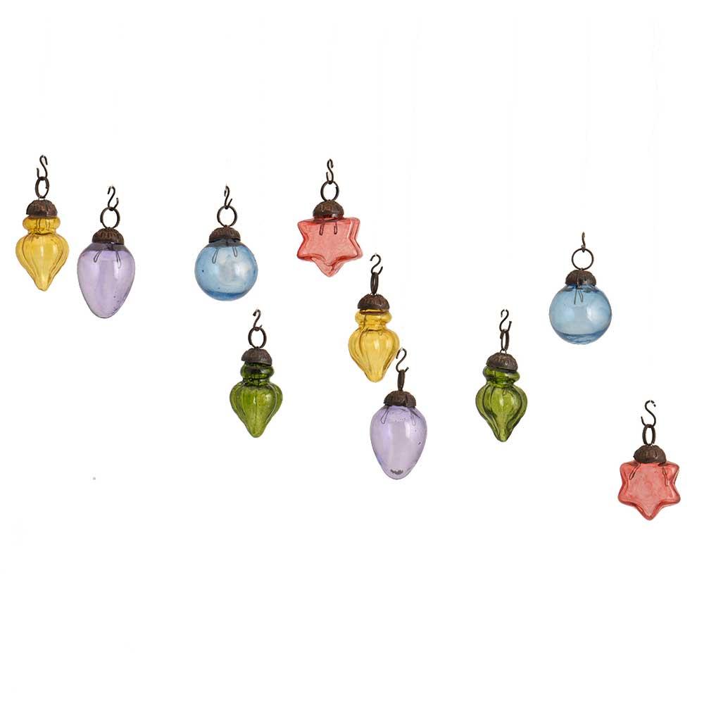 Multi Color Combo Glass Tiny Christmas Hanging Set of 25