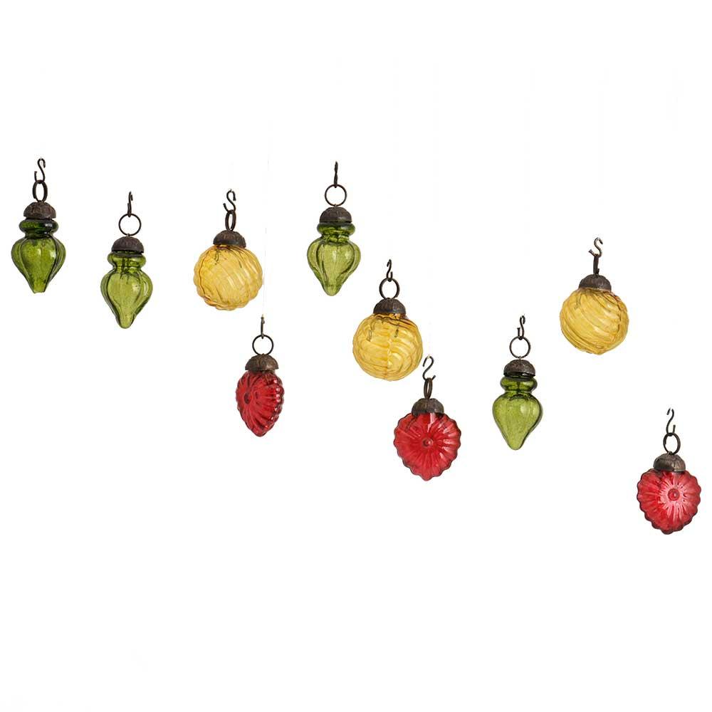 Multic-Color Combo Glass Tiny Christmas Hanging Set of 25