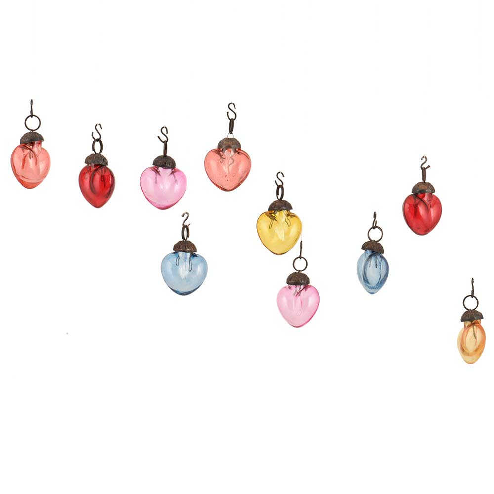 Multic-Color Heart Combo Glass Tiny Christmas Hanging Set of 25