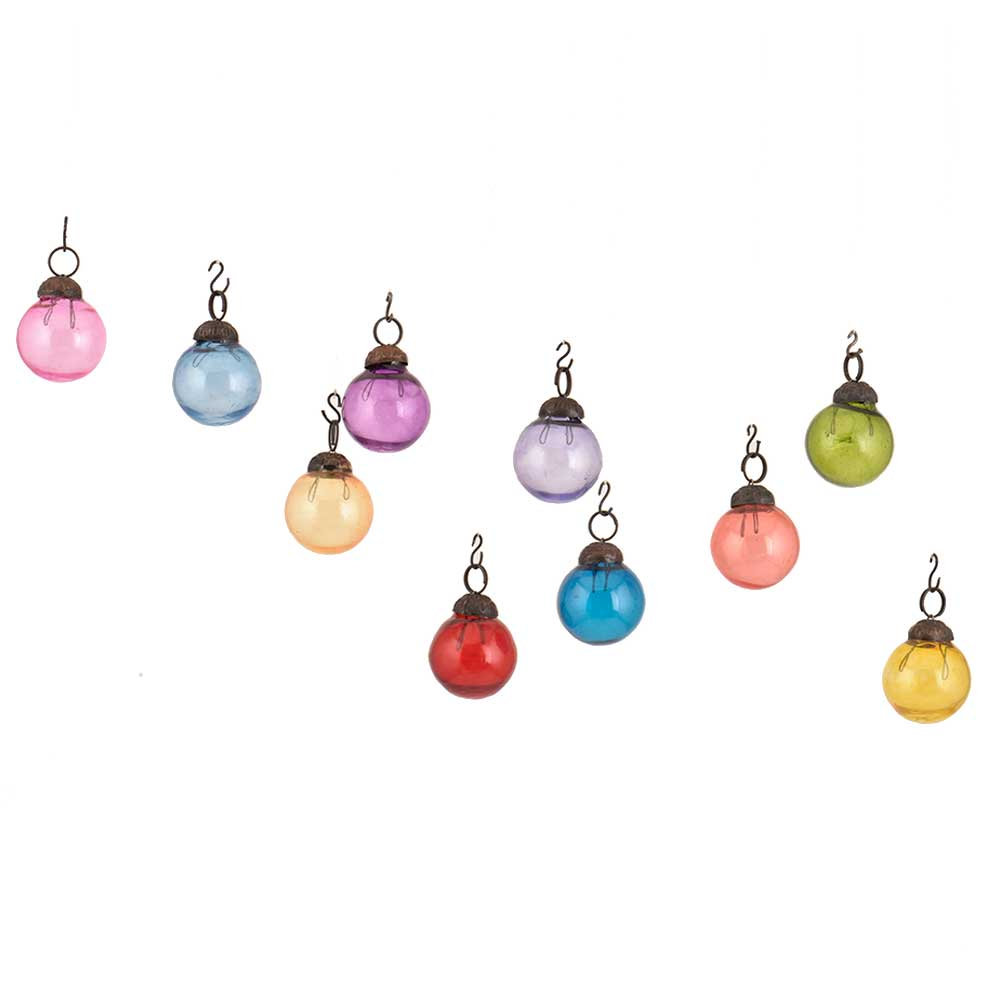 Multic-Color Round Combo Glass Tiny Christmas Hanging Set of 25
