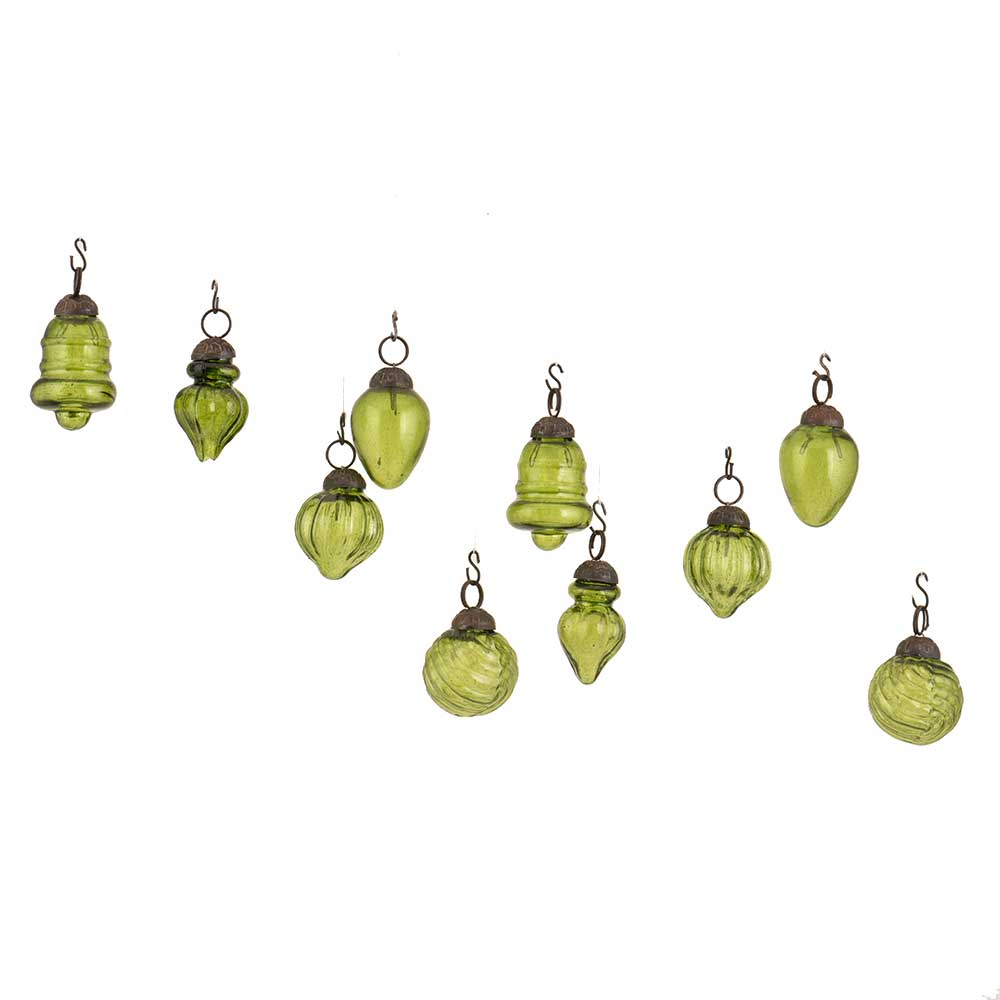 Olive Green Combo Glass Tiny Christmas Hanging Set of 25