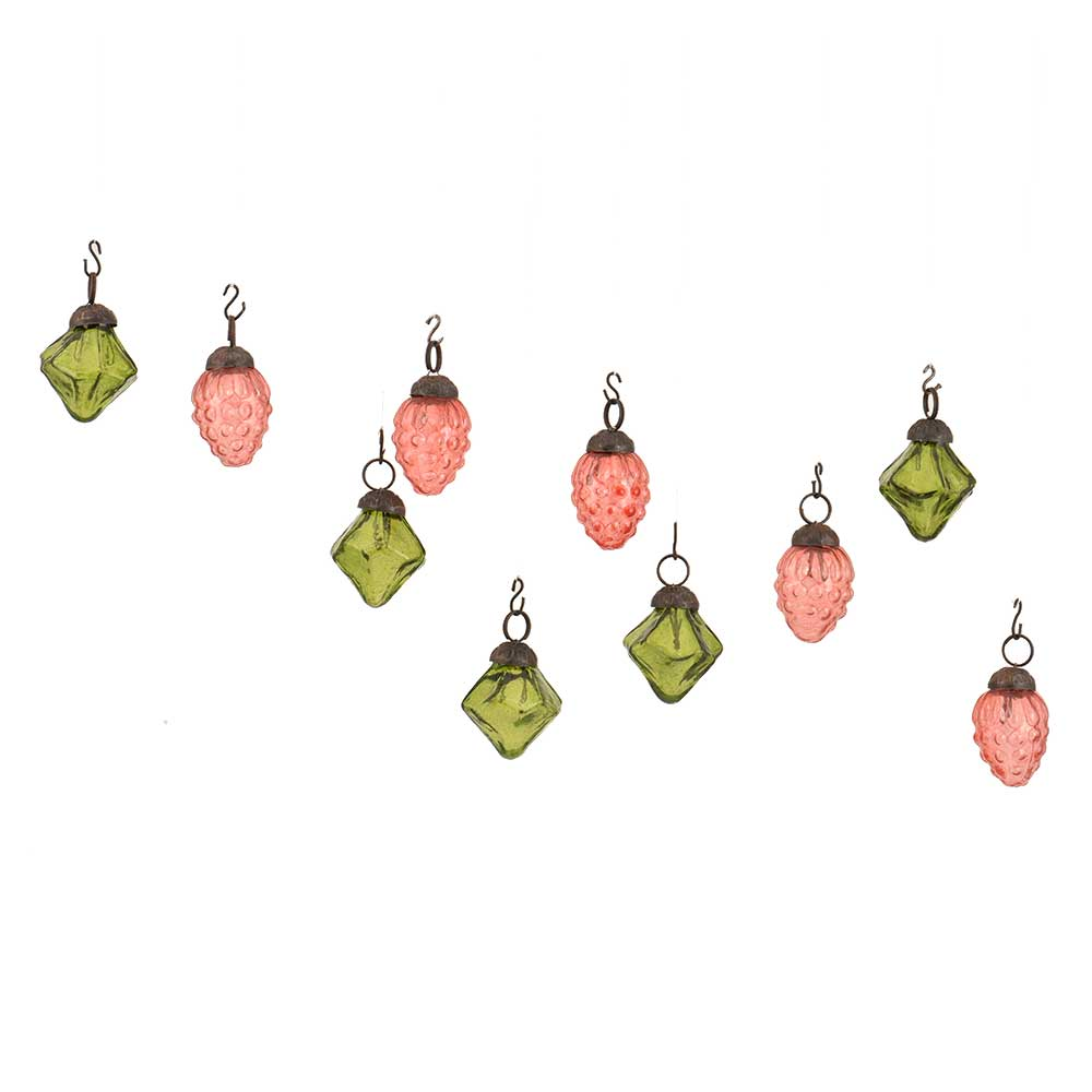 Olive Green Pink Combo Glass Tiny Christmas Hanging Set of 25