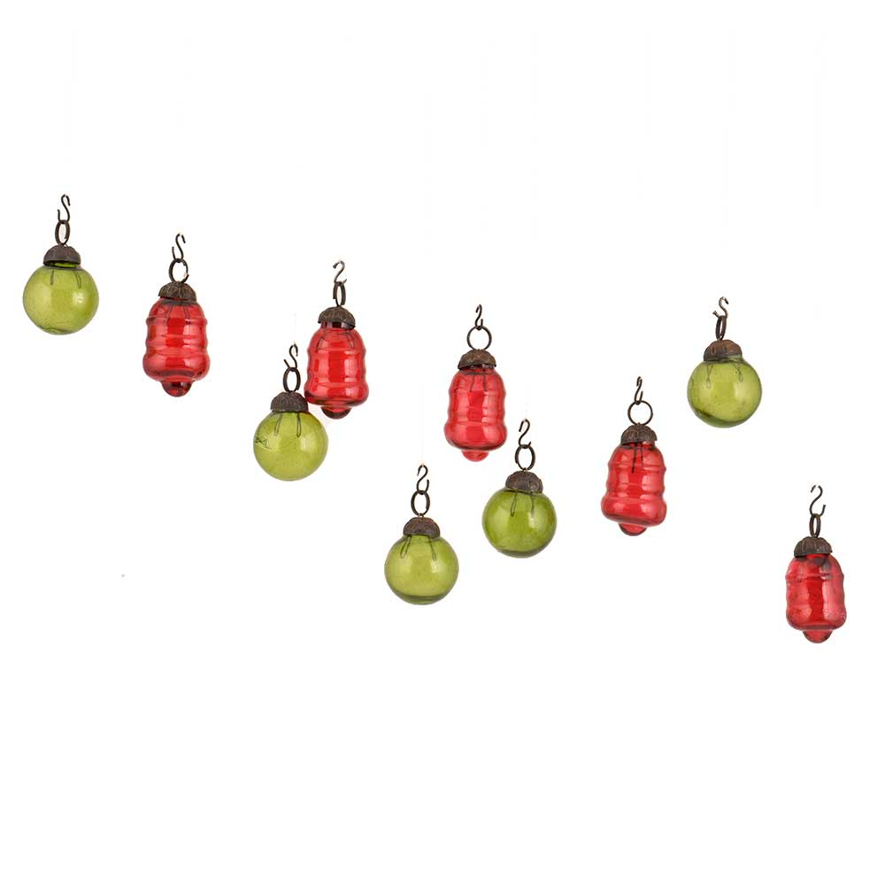 Olive Green Red Combo Glass Tiny Christmas Hanging Set of 25