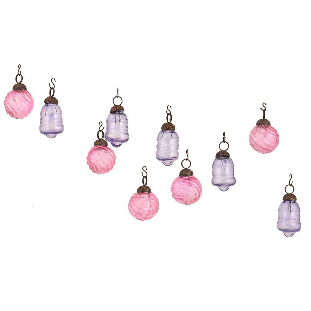 Pink  Slate Blue Combo Glass Tiny Christmas Hanging Set of 25