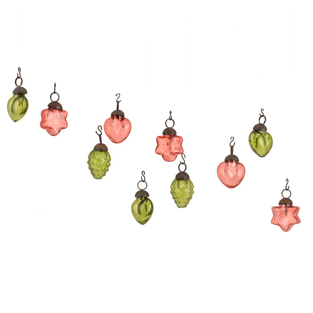 Pink Olive Green Combo Glass Tiny Christmas Hanging Set of 25