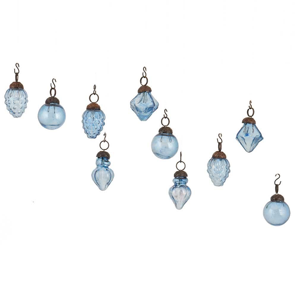 Slate Blue Combo Glass Tiny Christmas Hanging Set of 25