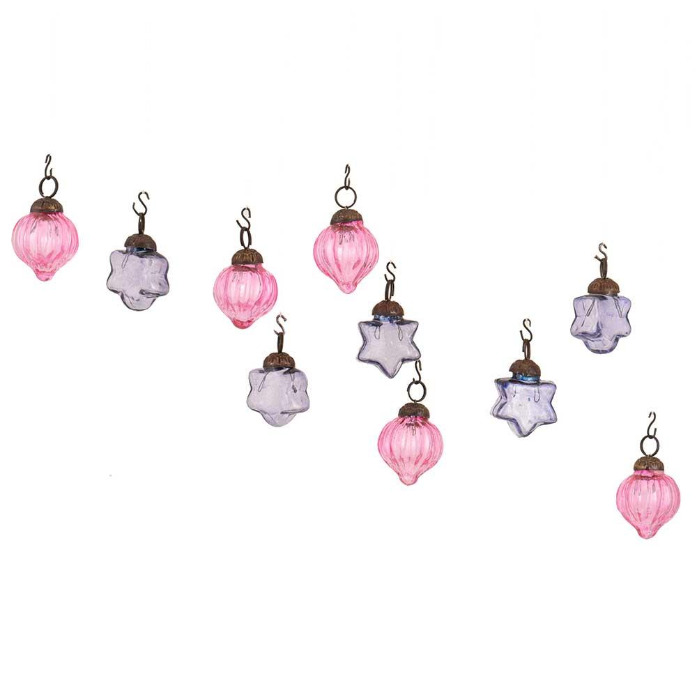 Slate Blue Pink Combo Glass Tiny Christmas Hanging Set of 25