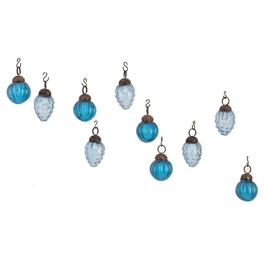 Turquoise Royal Blue Combo Glass Tiny Christmas Hanging Set of 25
