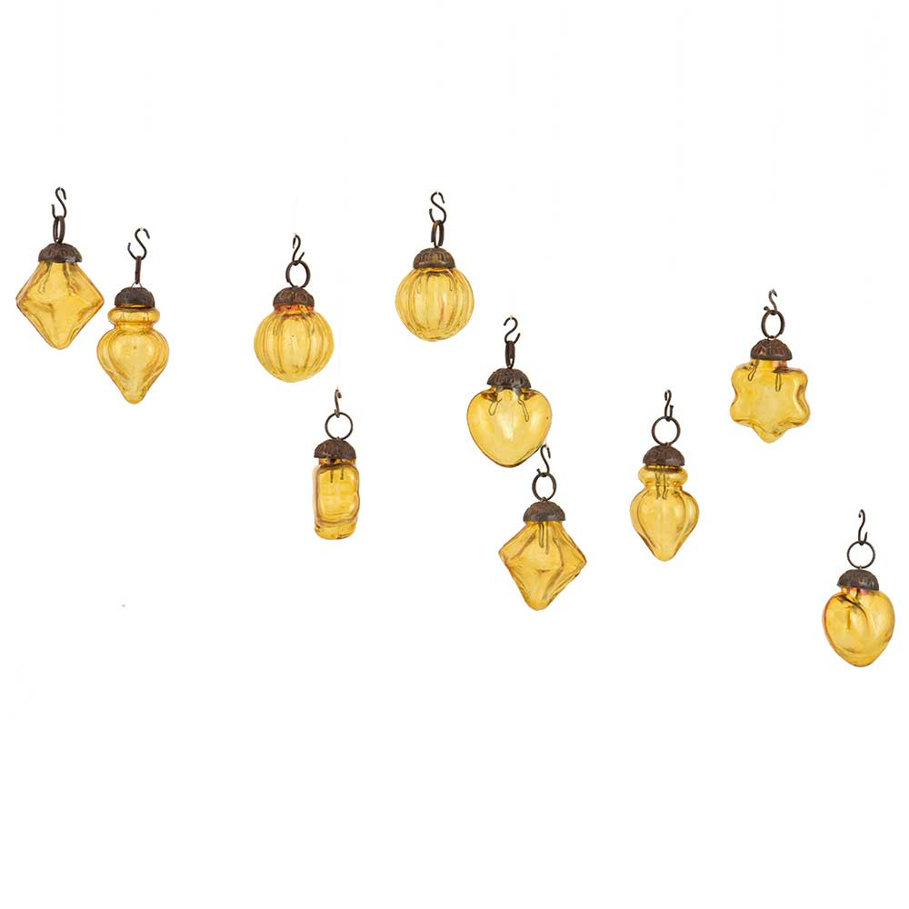 Yellow Amber Combo Glass Tiny Christmas Hanging Set of 25