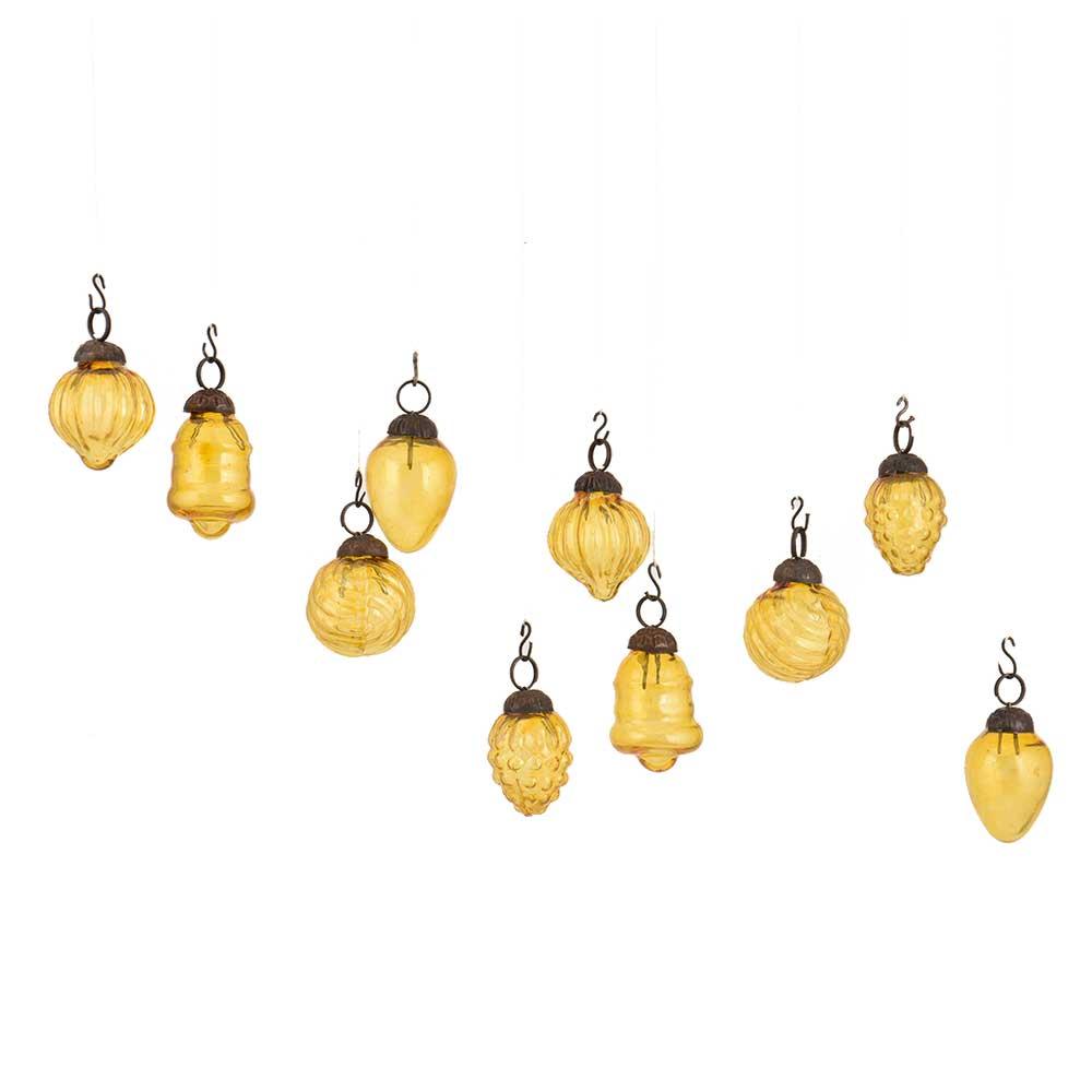 Yellow Combo Glass Tiny Christmas Hanging Set of 25