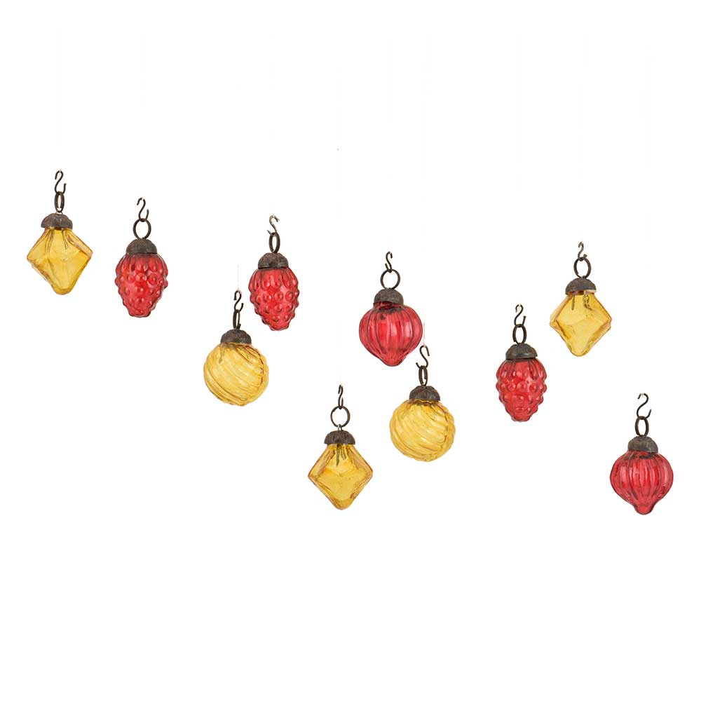 Yellow Red Combo Glass Tiny Christmas Hanging Set of 25