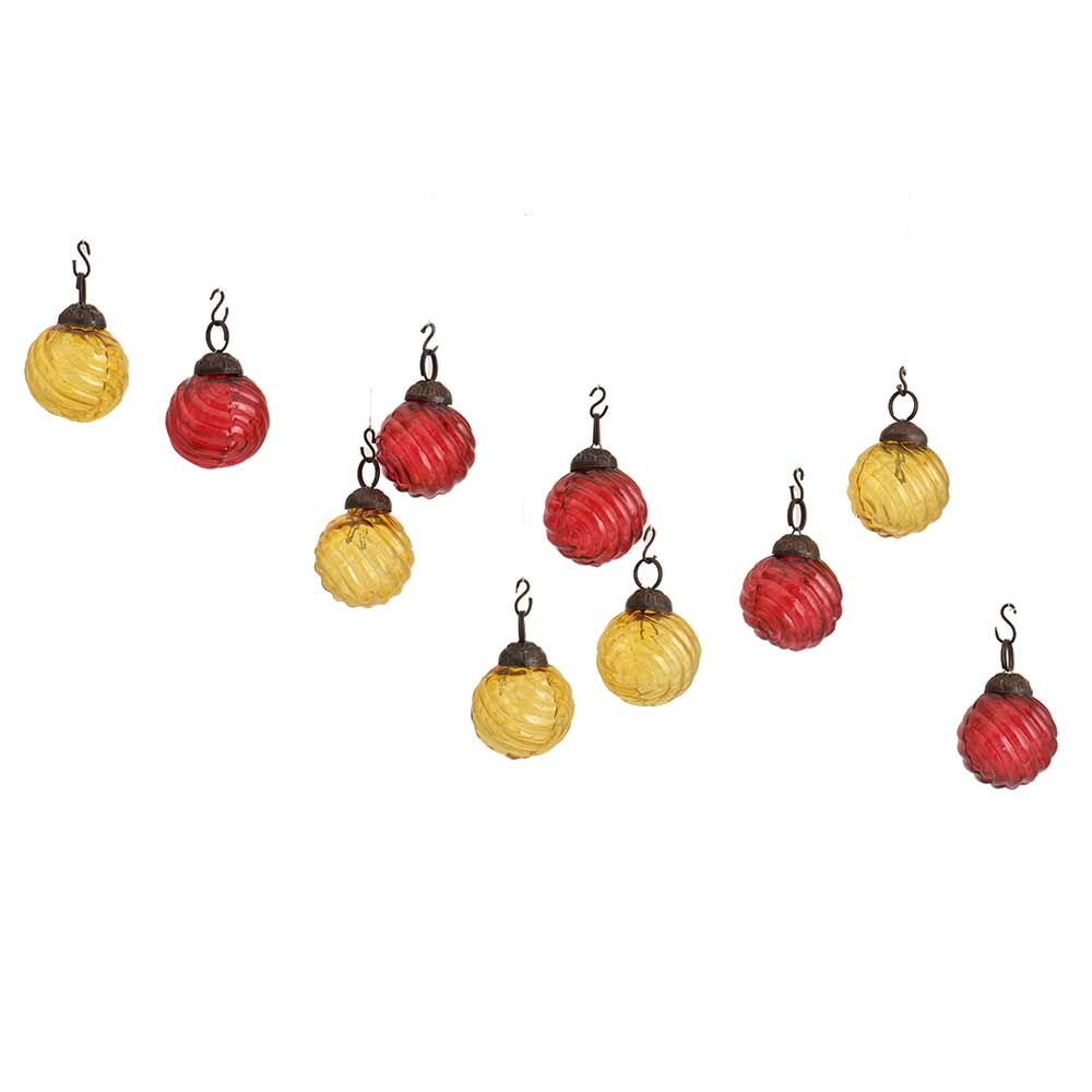 Yellow Red Round Combo Glass Tiny Christmas Hanging Set of 25