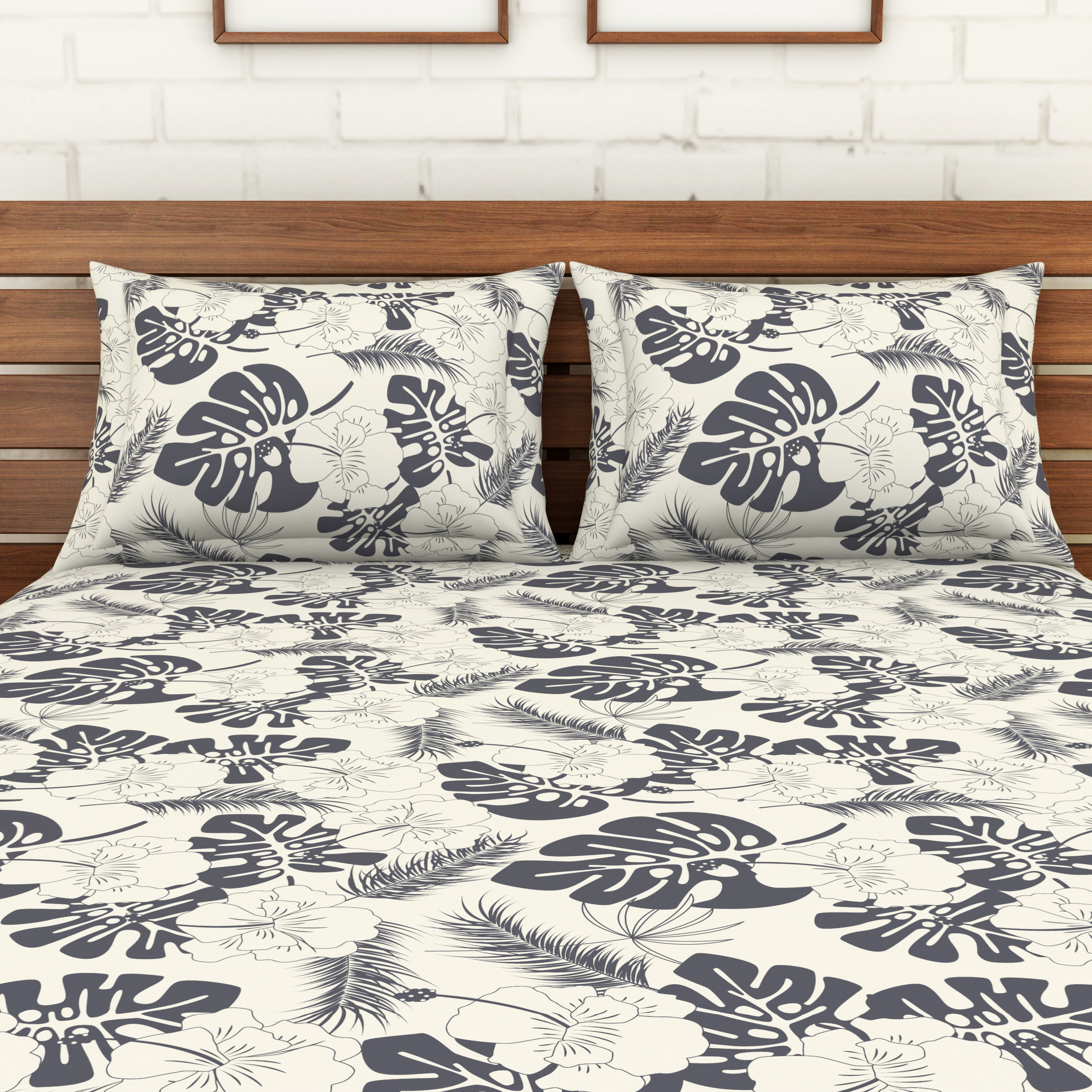 Spaces 104 TC Cotton Double Bed Sheet with 2 Pillow Covers In Grey
