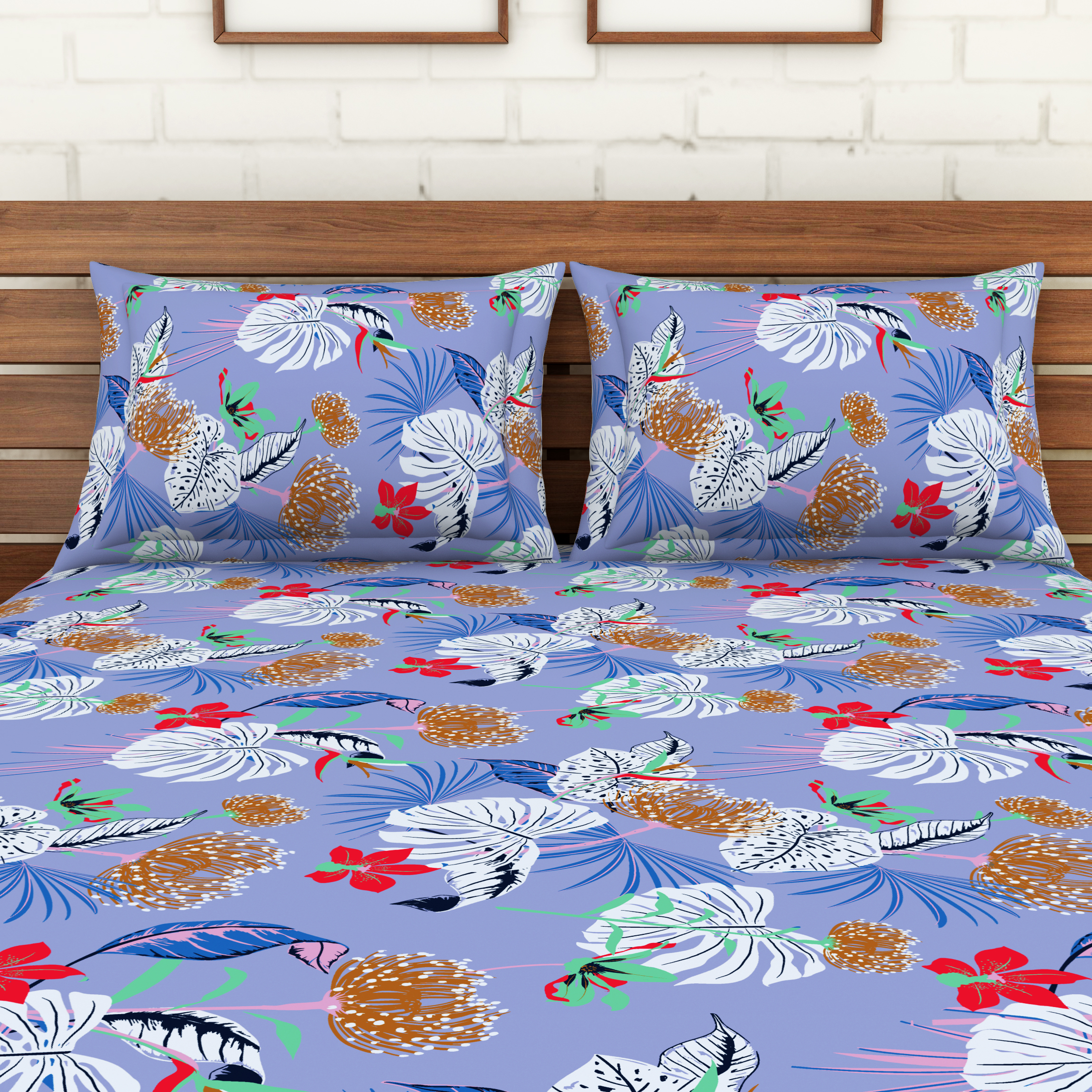 Spaces 104 TC Cotton Double Bed Sheet with 2 Pillow Covers In Blue