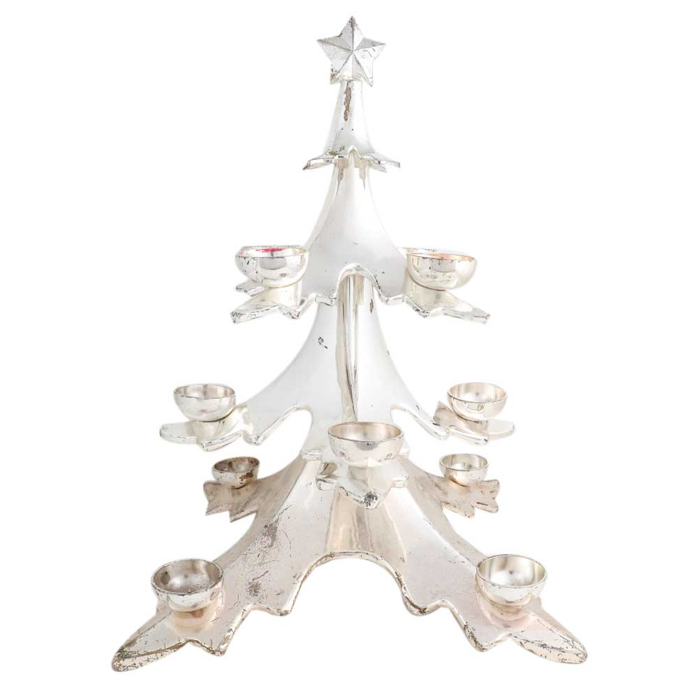 Copper Christmas Tree Candle Stand In Silver Polish