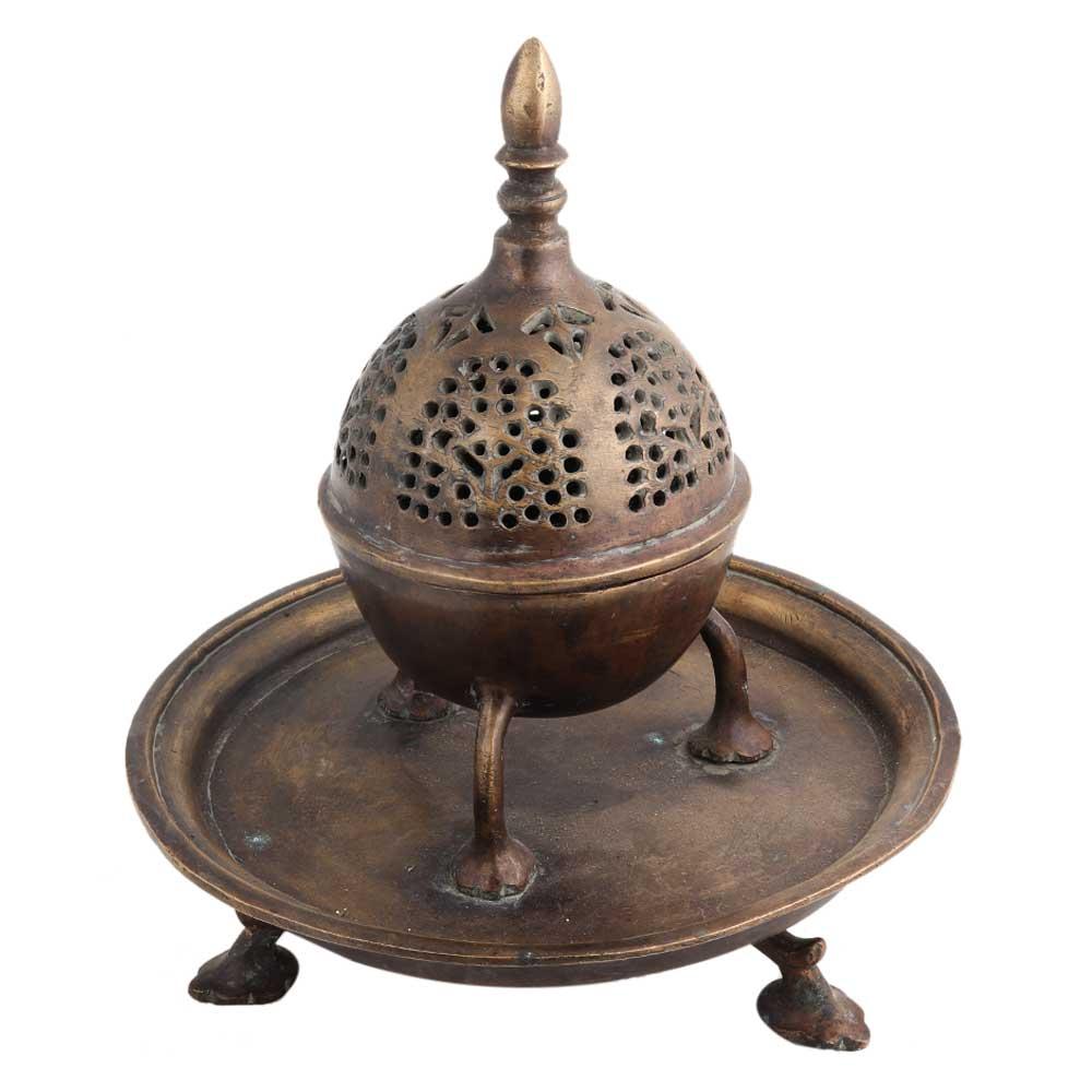Brass Jali design Dome Incense Holder With Base Plate
