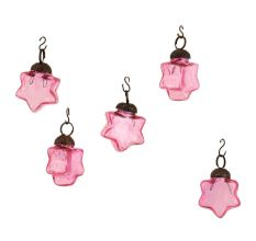 Pink Star Combo Glass Tiny Christmas Hanging Set of 25