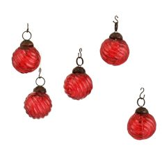 Red Round Combo Glass Tiny Christmas Hanging Set of 25