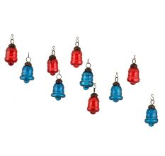 Red Royal Blue Bell Combo Glass Tiny Christmas Hanging Set of 25