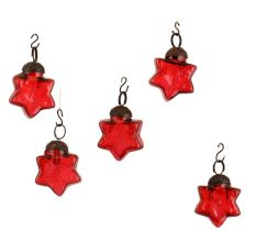 Red Star  Combo Glass Tiny Christmas Hanging Set of 25