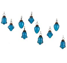 Royal Blue Combo Glass Tiny Christmas Hanging Set of 25