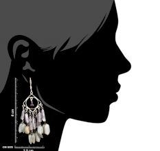 Different Shapes White Beads Long Sterling Silver Tassel Earrings