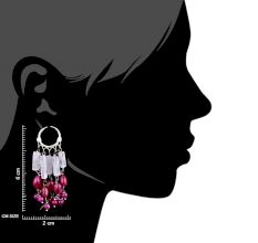 Stylish Pink Beads Trendy Sterling Silver Chandelier Earring