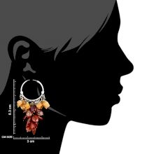 Orange Brown Bead Nugget Cluster Sterling Silver Drop Earrings
