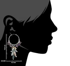 Sterling Silver Hoop Earrings With Colorful Stone Tassels