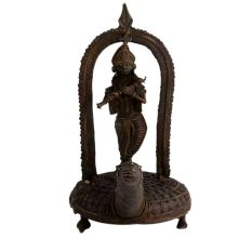 Brass Lord Krishna Statue Standing On Turtle Playing Flute