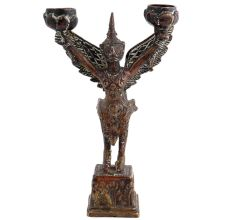 Brass Garuda Statue With Two Candle Holders