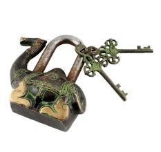 Brass Camel Padlock Lock With Keys In Pair Patina Finish
