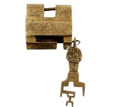 Golden Brass Contemporary Style Lock With Keys In Pair