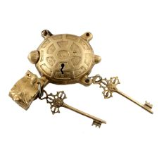 Golden Brass Tortoise Padlock With Keys In Pair