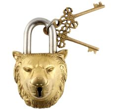 Brass Lion Shape Lock with Keys