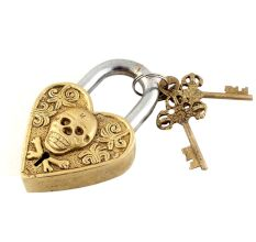 Brass Skull Face Heart Shaped Lock With Skeleton Keys