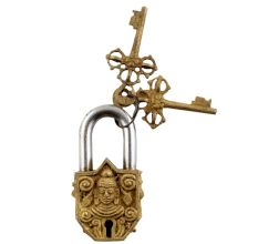 Brass Door Padlock Buddha Head Sculpture